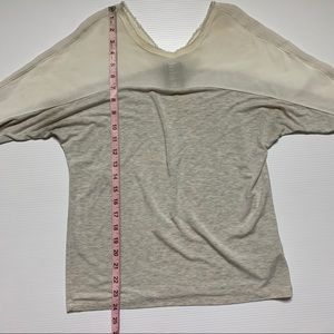 Anthropologie Tops - Anthropologie Dolan White Sheer Shoulder Gray Top